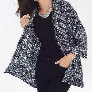 Chico's Reversible Kimono Jacket Black White
